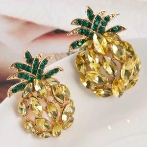 Jewelry - Rhinestone Pineapple Earrings